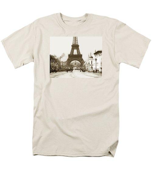 Men's T-Shirt  (Regular Fit) featuring the photograph Paris Exposition Eiffel Tower Paris France 1900  Historical Photos by California Views Mr Pat Hathaway Archives