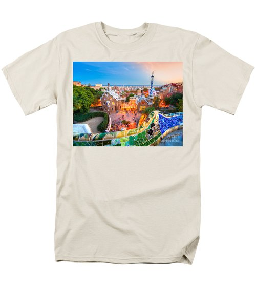 Park Guell In Barcelona - Spain Men's T-Shirt  (Regular Fit) by Luciano Mortula