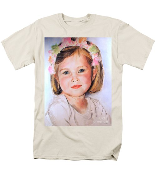 Pastel Portrait Of Girl With Flowers In Her Hair Men's T-Shirt  (Regular Fit) by Greta Corens