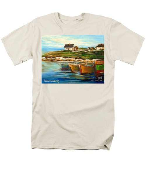 Peggys Cove With Fishing Boats Men's T-Shirt  (Regular Fit) by Carole Spandau