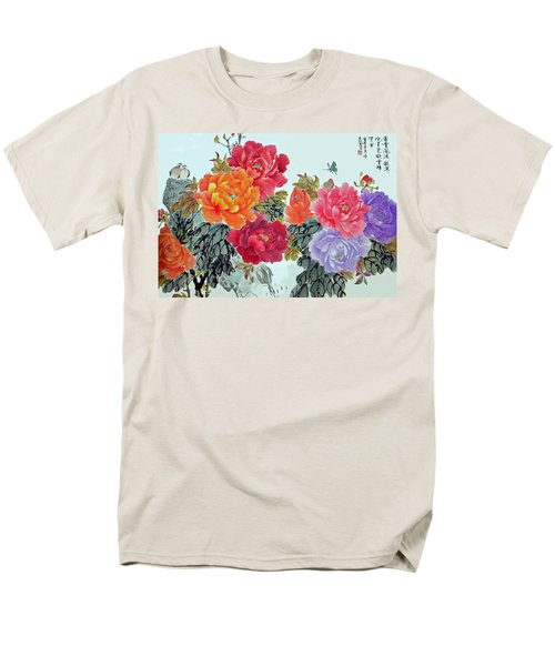 Men's T-Shirt  (Regular Fit) featuring the photograph Peonies And Birds by Yufeng Wang