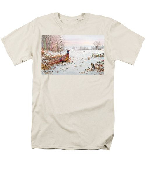 Pheasant And Bramblefinch In The Snow Men's T-Shirt  (Regular Fit) by Carl Donner