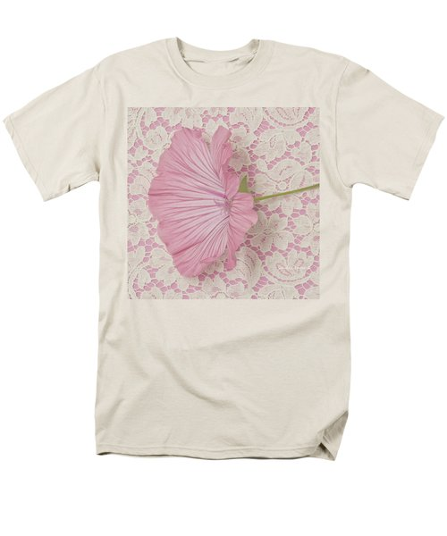 Pink Lavatera Blossom On Vintage Lace - Macro Men's T-Shirt  (Regular Fit) by Sandra Foster