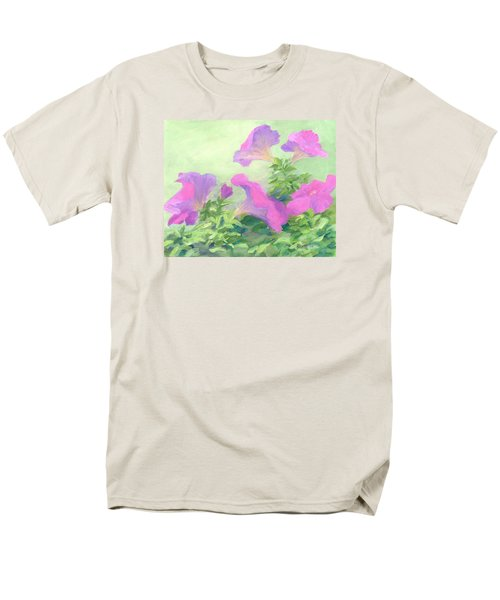 Pink Petunias Beautiful Flowers Art Colorful Original Garden Floral Flower Artist K. Joann Russell  Men's T-Shirt  (Regular Fit) by Elizabeth Sawyer