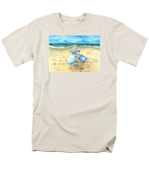 Men's T-Shirt  (Regular Fit) featuring the drawing Playing On The Beach by Troy Levesque