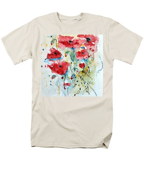 Men's T-Shirt  (Regular Fit) featuring the painting Poppies 04 by Ismeta Gruenwald
