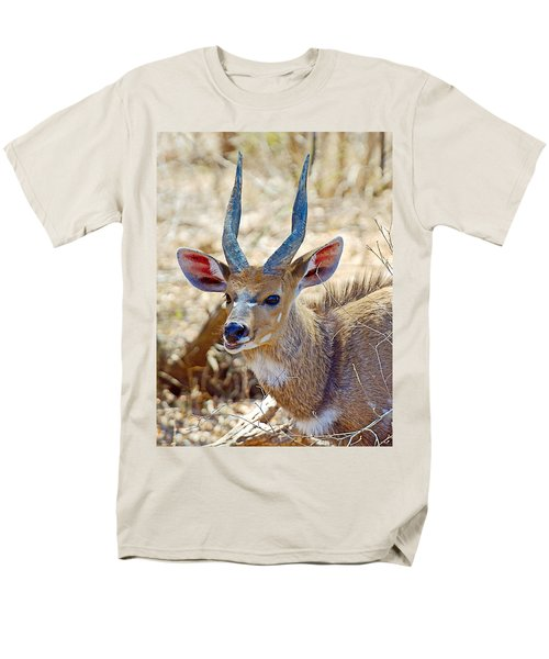 Portrait Of A Bushbuck In Kruger National Park-south Africa  Men's T-Shirt  (Regular Fit) by Ruth Hager