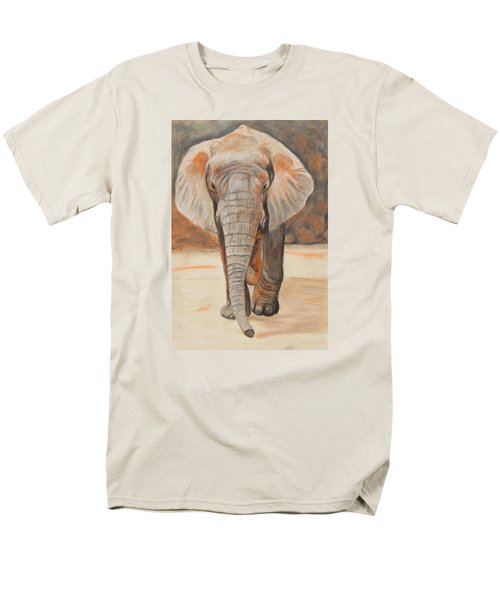 Men's T-Shirt  (Regular Fit) featuring the painting Portrait Of An Elephant by Jeanne Fischer