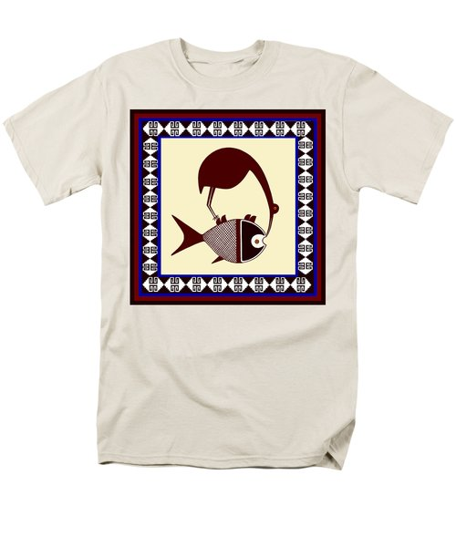 Men's T-Shirt  (Regular Fit) featuring the digital art Pre-columbian Stork Fish by Vagabond Folk Art - Virginia Vivier