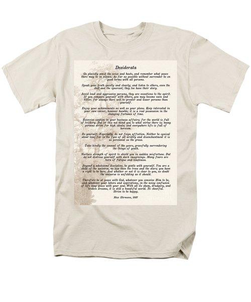Prose Poem Desiderata By Max Ehrmann  Men's T-Shirt  (Regular Fit) by Olga Hamilton