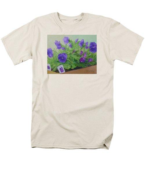 Purple Pansies Colorful Original Oil Painting Flower Garden Art  Men's T-Shirt  (Regular Fit) by Elizabeth Sawyer