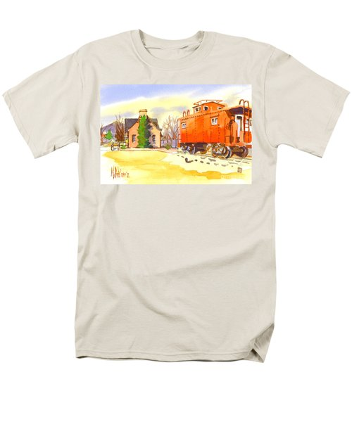 Red Caboose At Whistle Junction Ironton Missouri Men's T-Shirt  (Regular Fit)