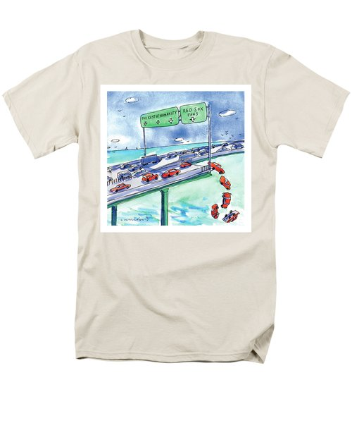 Red Cars Drop Off A Bridge Under A Sign That Says Men's T-Shirt  (Regular Fit) by Michael Crawford