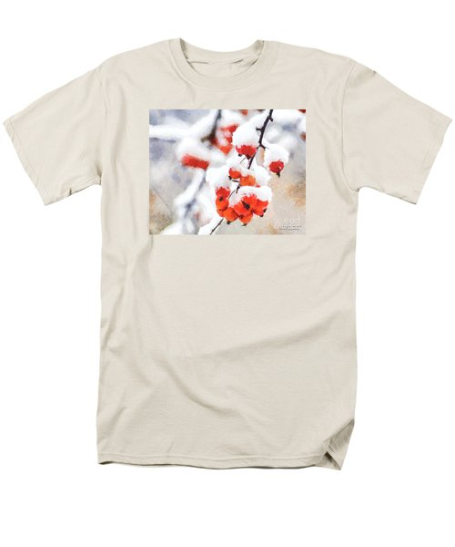 Red Crabapples In The Winter Snow - A Digital Painting By D Perry Lawrence Men's T-Shirt  (Regular Fit) by David Perry Lawrence