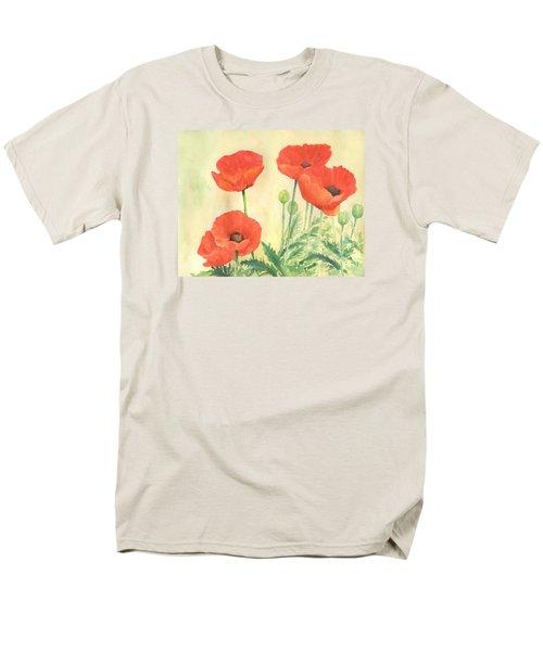 Red Poppies 3 Colorful Watercolor Poppy Floral Original Art Flowers Garden Artist K. Joann Russell Men's T-Shirt  (Regular Fit) by Elizabeth Sawyer