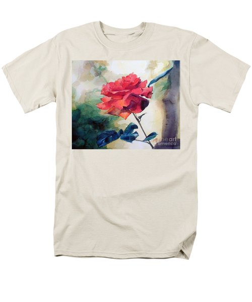 Red Rose On A Branch Men's T-Shirt  (Regular Fit) by Greta Corens