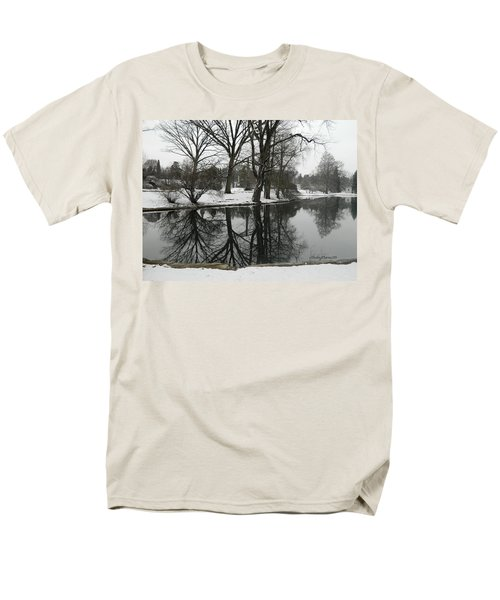 Men's T-Shirt  (Regular Fit) featuring the photograph Reflection Pond Spring Grove Cemetery by Kathy Barney