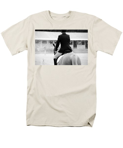 Men's T-Shirt  (Regular Fit) featuring the photograph Rider In Black And White by Jennifer Ancker