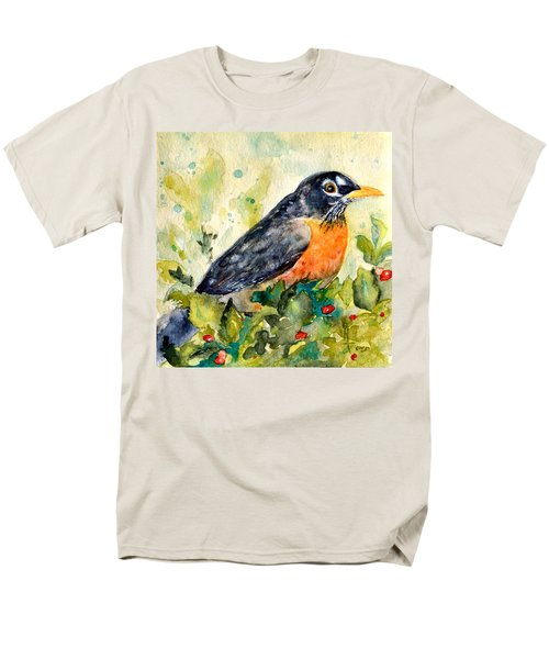 Men's T-Shirt  (Regular Fit) featuring the painting Robin In The Holly by Beverley Harper Tinsley