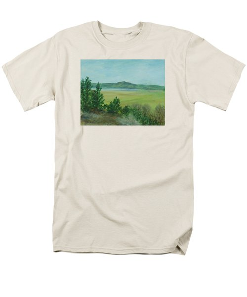 Rural Landscape Art Original Colorful Oil Painting Swan Lake Oregon  Men's T-Shirt  (Regular Fit) by Elizabeth Sawyer