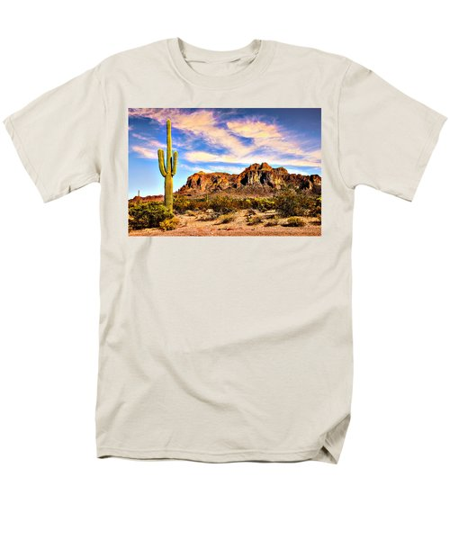 Saguaro Superstition Mountains Arizona Men's T-Shirt  (Regular Fit) by Bob and Nadine Johnston
