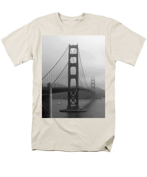 Sailboat Passing Under Golden Gate Bridge Men's T-Shirt  (Regular Fit) by Connie Fox