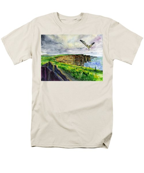 Seagulls At The Cliffs Of Moher Men's T-Shirt  (Regular Fit) by John D Benson