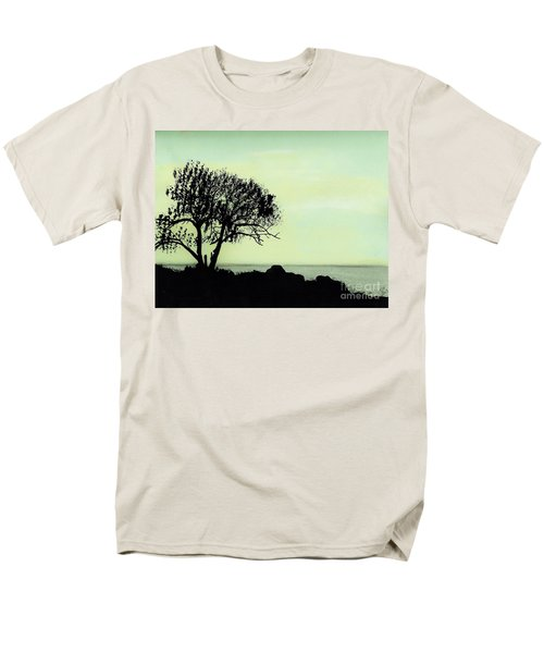 Men's T-Shirt  (Regular Fit) featuring the drawing Seashore Silhouette by D Hackett