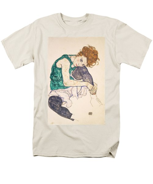 Seated Woman With Legs Drawn Up. Adele Herms Men's T-Shirt  (Regular Fit) by Egon Schiele