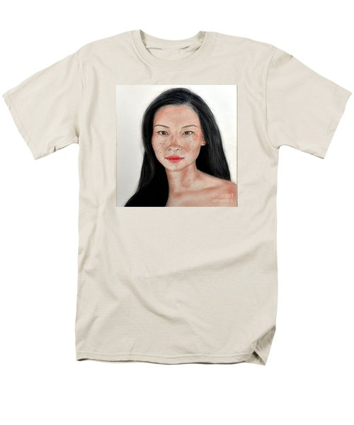 Men's T-Shirt  (Regular Fit) featuring the drawing Sexy Freckle Faced Beauty Lucy Liu by Jim Fitzpatrick