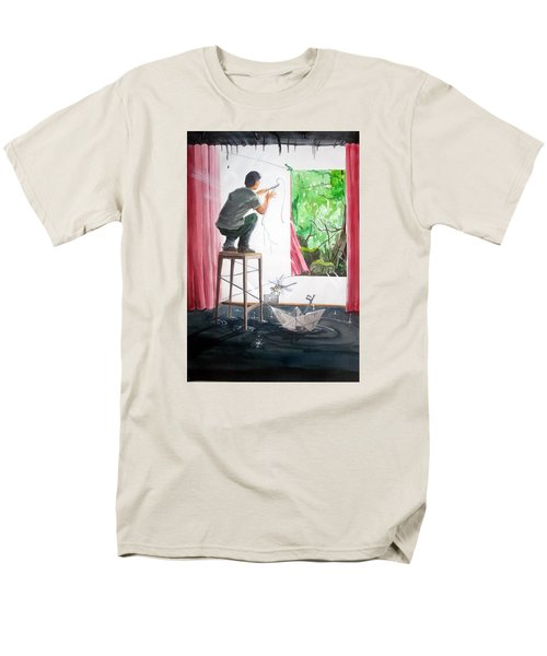 Shaping The Peace Listen With Music Of The Description Box Men's T-Shirt  (Regular Fit) by Lazaro Hurtado