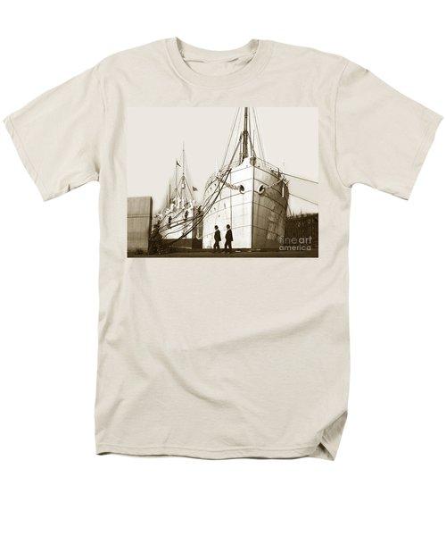 Men's T-Shirt  (Regular Fit) featuring the photograph Steam Ships San Francisco California   Circa 1900 Historical Photo by California Views Mr Pat Hathaway Archives