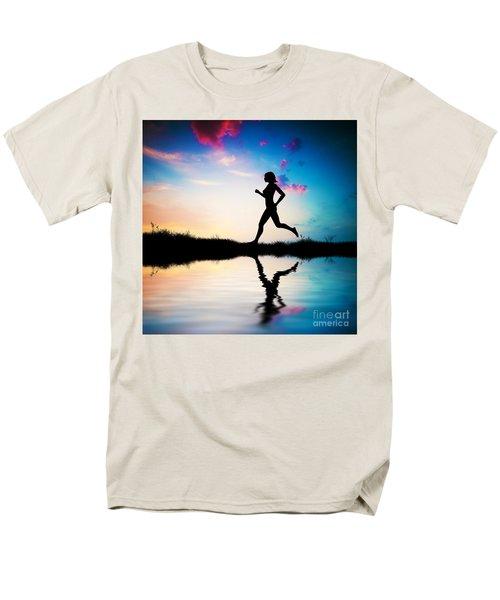 Silhouette Of Woman Running At Sunset Men's T-Shirt  (Regular Fit) by Michal Bednarek