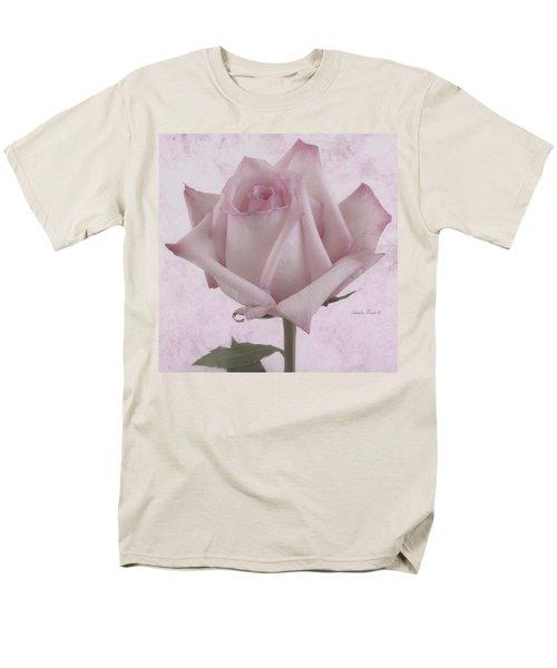 Single Pink Rose Blossom Men's T-Shirt  (Regular Fit) by Sandra Foster