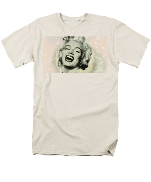 Men's T-Shirt  (Regular Fit) featuring the painting Smile Marilyn Monroe Black And White by Georgi Dimitrov