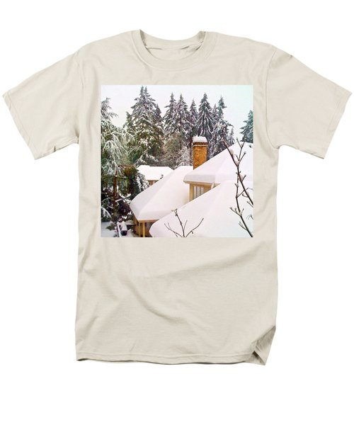 Snow Covered Rooftops - Winter In Lake Oswego Or Men's T-Shirt  (Regular Fit) by Anna Porter