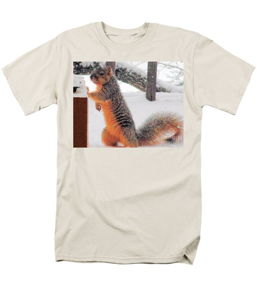 Men's T-Shirt  (Regular Fit) featuring the photograph Squirrel Checking Out Seeds by Janette Boyd