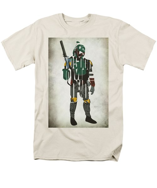 Star Wars Inspired Boba Fett Typography Artwork Men's T-Shirt  (Regular Fit) by Ayse Deniz