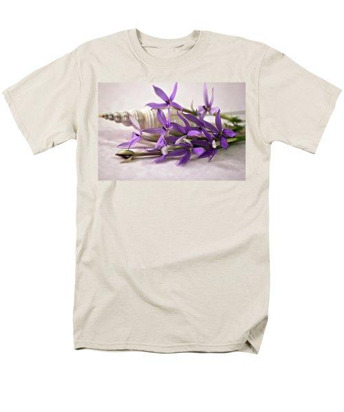 Starshine Laurentia Flowers And White Shell Men's T-Shirt  (Regular Fit) by Sandra Foster