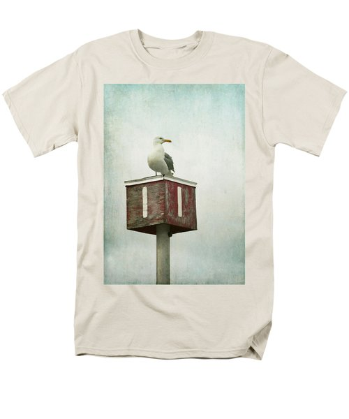 Men's T-Shirt  (Regular Fit) featuring the photograph Gull With Blue And Red by Brooke T Ryan