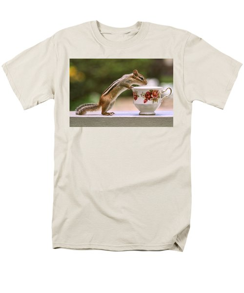 Tea Time With Chipmunk Men's T-Shirt  (Regular Fit) by Peggy Collins