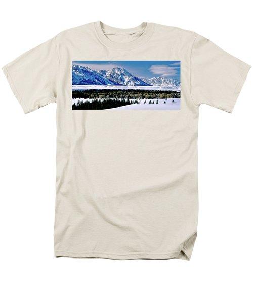 Teton Valley Winter Grand Teton National Park Men's T-Shirt  (Regular Fit) by Ed  Riche