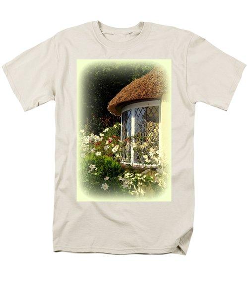 Thatched Cottage Window Men's T-Shirt  (Regular Fit) by Carla Parris