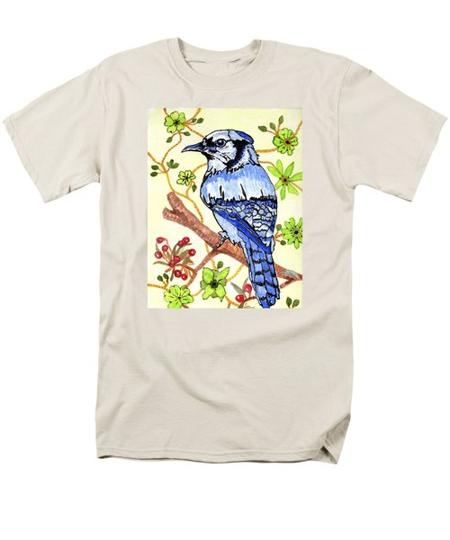 Men's T-Shirt  (Regular Fit) featuring the painting The Bird In My Yard by Connie Valasco