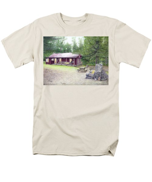 Men's T-Shirt  (Regular Fit) featuring the painting The Cabin In The Woods by Albert Puskaric