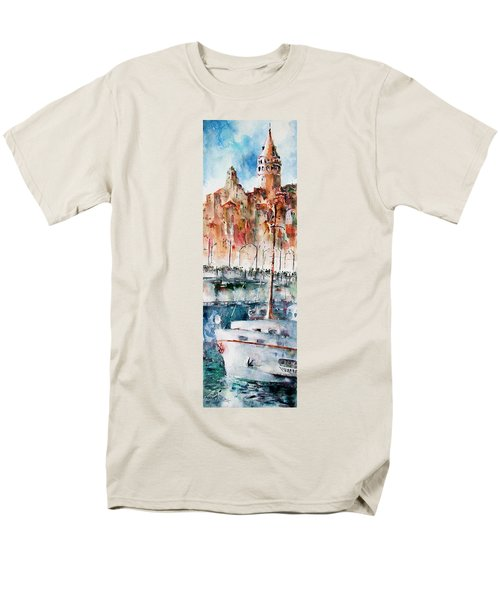 Men's T-Shirt  (Regular Fit) featuring the painting The Ferry Arrives At Galata Port - Istanbul by Faruk Koksal