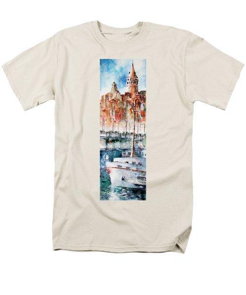 The Ferry Arrives At Galata Port - Istanbul Men's T-Shirt  (Regular Fit) by Faruk Koksal