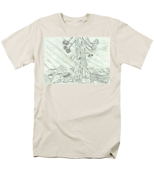 Men's T-Shirt  (Regular Fit) featuring the drawing The Old Tree In Spring Light  - Sketch by Felicia Tica