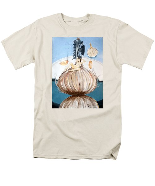 Men's T-Shirt  (Regular Fit) featuring the painting The Onion Maiden And Her Hair La Doncella Cebolla Y Su Cabello by Lazaro Hurtado