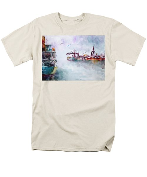 Men's T-Shirt  (Regular Fit) featuring the painting The Ship At Harbor Entrance by Faruk Koksal